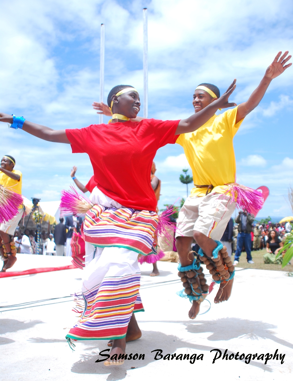 A cultural group dances Runyege. This is the cultural dance of the Batooro (People from Tooro).