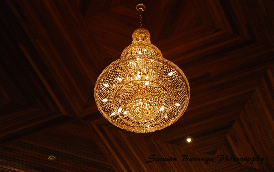 The chandelier inside the king's palace. The palace is located on a hill overlooking Fort Portal and it was constructed with funding from Libya's Col Muamar Gaddafi.