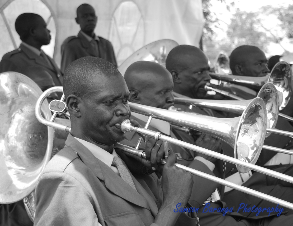 A member of the UPDF band hard at work during a recent function to decorate senior UPDF-Uganda People's Defence Forces who were recently promoted to 1 star and 2 star Generals. The event took place at Mbuya army barracks.