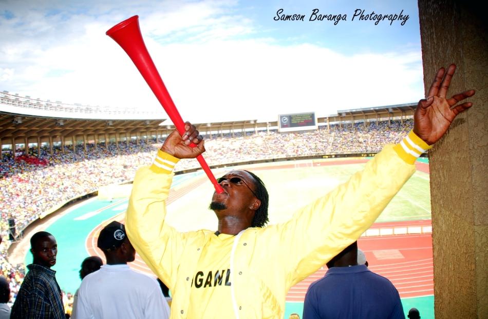 A Cranes fan blowing the vuvuzela